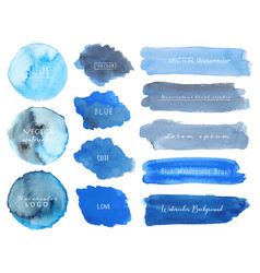 set of blue watercolor on white background vector image
