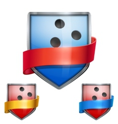 Set of Bright shield in the bowling ball inside vector