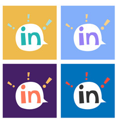 Set of flat linkedin color icon glossy app icon vector