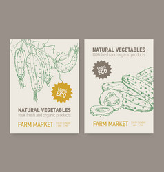 set of flyer or poster templates with cucumbers vector image
