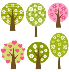 set spring trees vector image