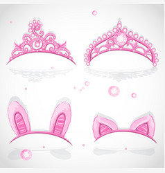 Shining pink girls tiaras with diamonds and vector