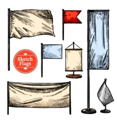 Sketch Flags Set vector image