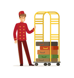 Smiling bellhop character wearing red double vector
