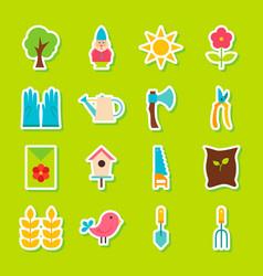 Spring garden stickers vector