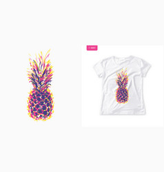 Summer graphic womens tee with pineapple stylish vector