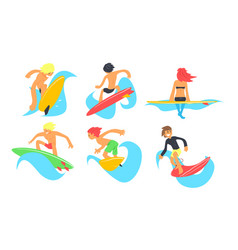surfers characters riding waves set young man and vector image