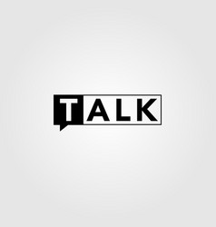 talk text logo icon square negative space symbol vector image