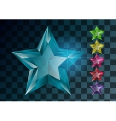 Transparent Gemstones stars isolated Set of vector