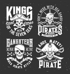 tshirt prints with pirate skull mascot in tricorn vector image