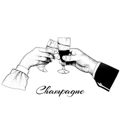 Two hands holding glasses of champagne vector