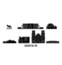 united states santa fe flat travel skyline set vector image