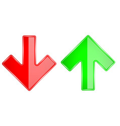 Up and down arrows 3d shiny glass icons red and vector