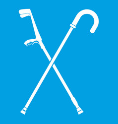 Walking cane icon white vector