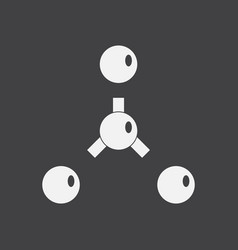 White icon on black background atoms disconnection vector