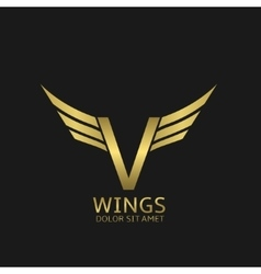 Wings V letter logo vector