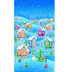 Winter landscape vertical vector