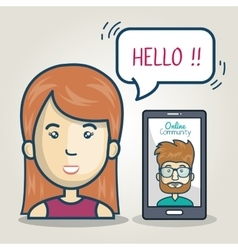 Woman smartphone community online bubble speech vector