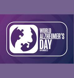 World alzheimers day september 21 holiday vector