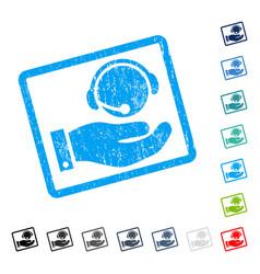 call center service icon rubber watermark vector image