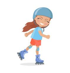 girl with long brown hair in helmet roller skating vector image vector image