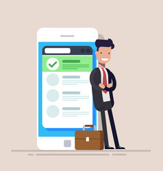 Happy businessman or manager is standing near a vector