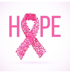Hope message in pink with cancer awareness ribbon vector
