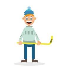 boy plays hockey vector image vector image