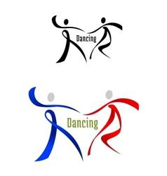 Dancing partner emblem in ribbon style vector image vector image