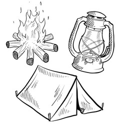 doodle camping tent fire lantern vector image