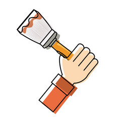 hand with paint brush vector image vector image