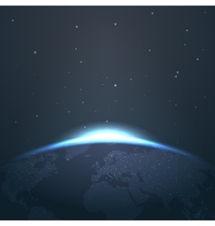 Sunrise horizon over earth from space with stars vector image