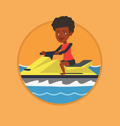 african woman training on jet ski in the sea vector image