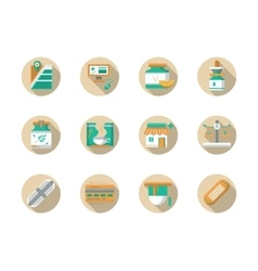 Drugstore round flat color icons vector