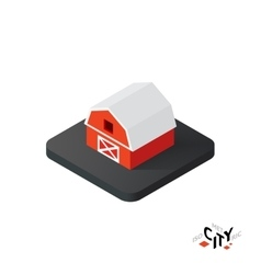 Isometric red barn icon building city infographic vector image vector image