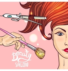 make up and hairstyle vector image