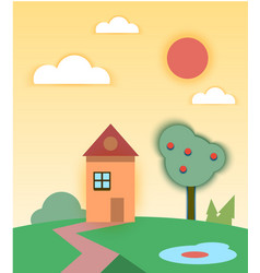 rural summer landscape with house and tree vector image vector image