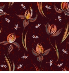 Seamless pattern with floral ornament irises in a vector image vector image