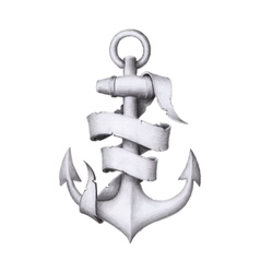 Vintage hand drawn anchor with a ribbon vector image
