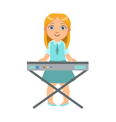 girl playing on keyboard kid performing on stage vector image vector image
