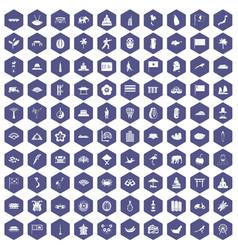 100 asian icons hexagon purple vector