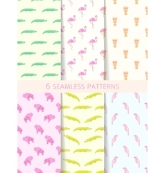 African Seamless Patterns Set vector image