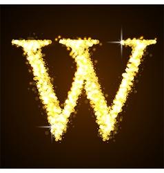 Alphabets W of gold glittering stars vector