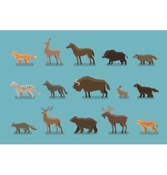 Animals icons Wild boar bear fox deer horse vector