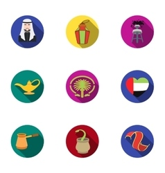 Arab Emirates set icons in flat style Big vector
