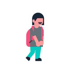 Asian girl backpack school children isolated small vector