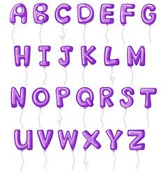 Balloon alphabets in purple color vector