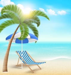 Beach with palm clouds sun umbrella and beach vector image