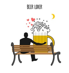 Beer lover Beer mug and watch people on moon Date vector image