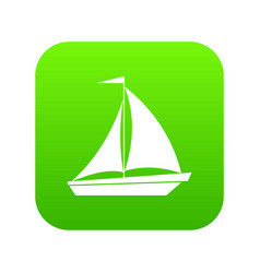 boat with sails icon digital green vector image